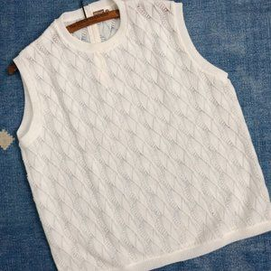 Vintage 60's/70's sleeveless white shell sweater L